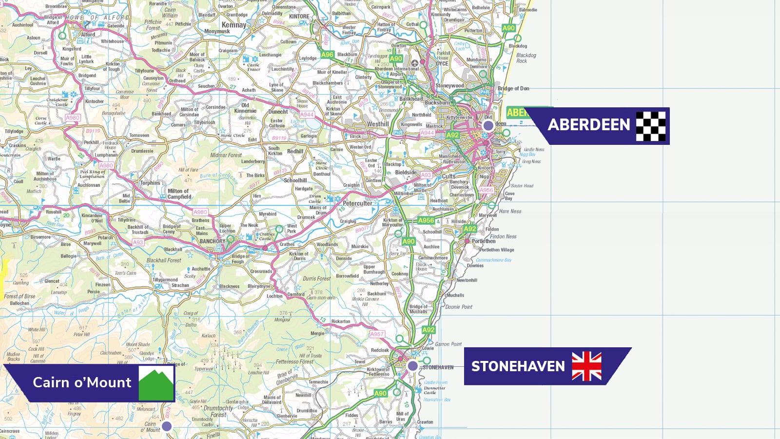 Tour of Britain 2021 stage eight Aberdeen Aberdeenshire map