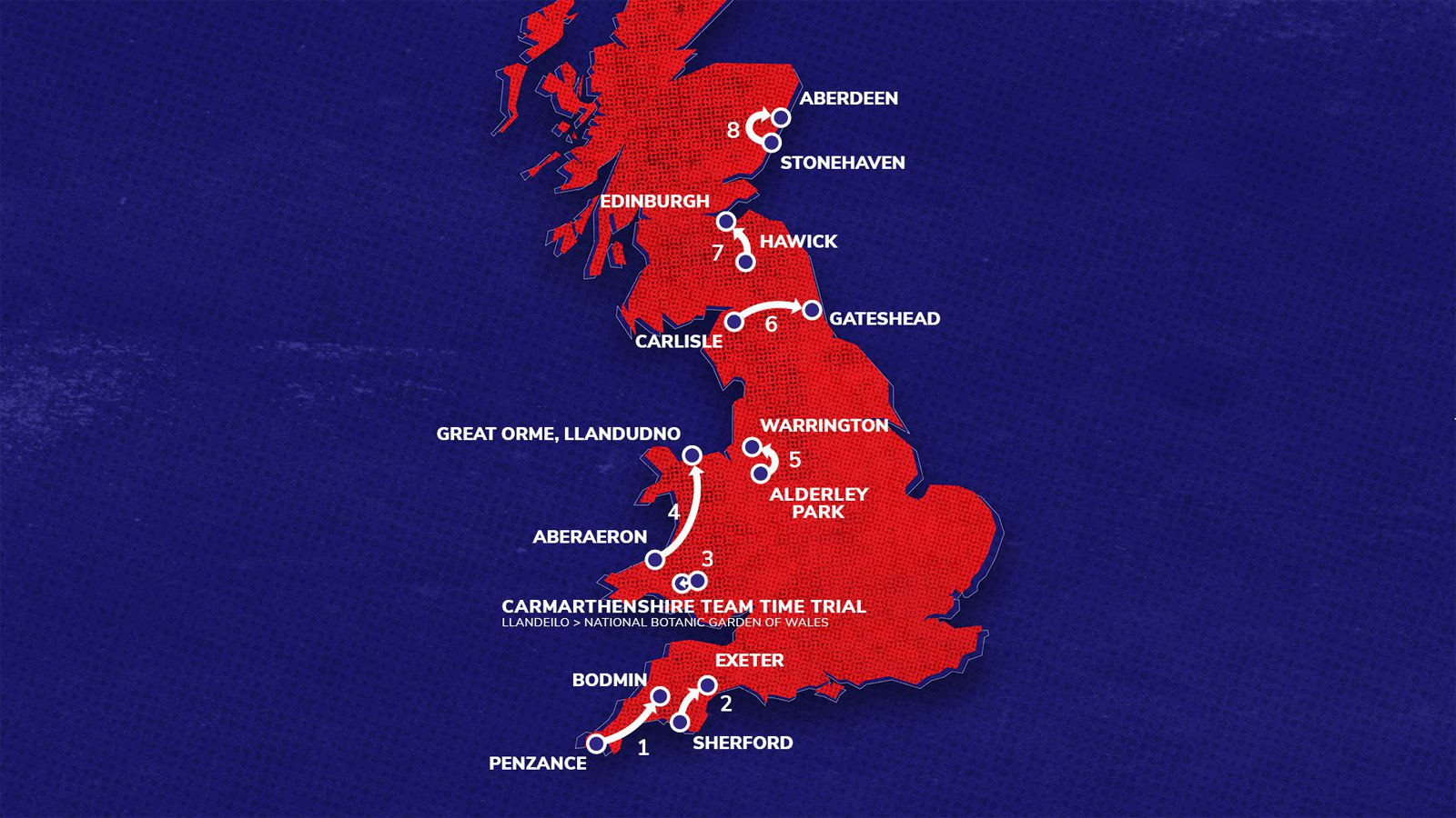 Tour of Britain 2021 map
