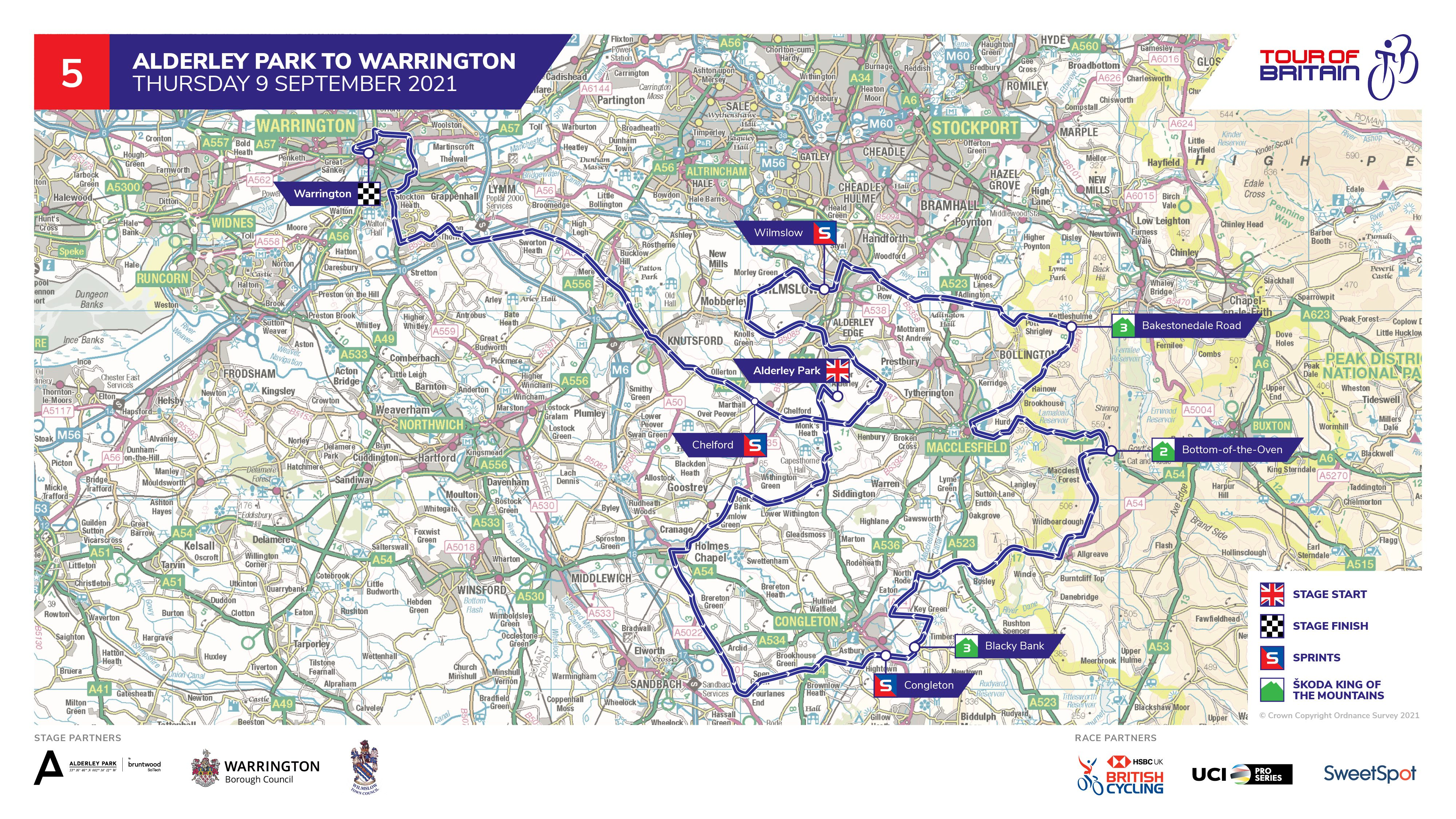 Tour of Britain stage five Alderley Park map